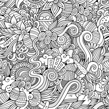 Cartoon hand-drawn doodles on the subject of Easter theme seamless pattern. Line art detailed, with lots of objects vector background