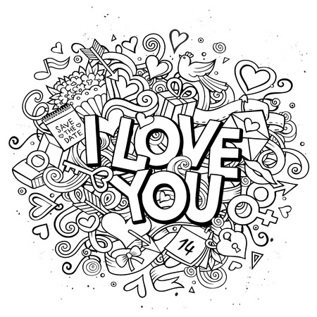 Cartoon vector hand drawn Doodle I Love You illustration. Line art design background with objects and symbols. All objects are separated