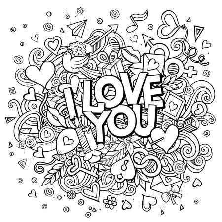 enamorados caricatura: vector de dibujos animados dibujados mano del Doodle Te Amo ilustración. Línea de arte de diseño de fondo con los objetos y símbolos. Todos los objetos están separados
