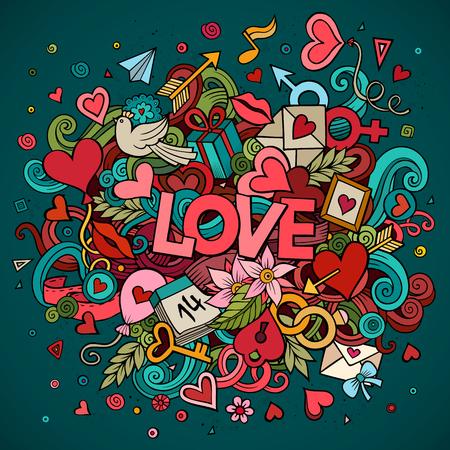 mujer alegre: vector de la historieta dibujada mano del amor del Doodle ilustraci�n. dise�o de fondo con objetos y s�mbolos.