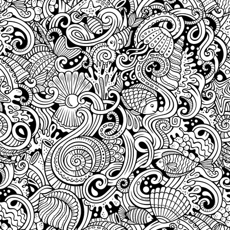 vector pattern: Cartoon hand-drawn doodles on the subject of under water life theme seamless pattern. Line art detailed, with lots of objects vector background Illustration