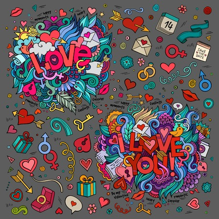 woman vector: Set of Love and I Love You hand lettering and doodles elements, symbols, objects background Illustration