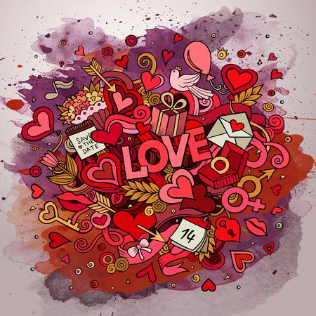 enamorados caricatura: Doodle ilustración dibujos animados del amor. Línea arte de la acuarela diseño de fondo con objetos y símbolos.