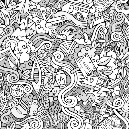 cartoon summer: Cartoon  Doodles on the subject of camping seamless pattern. Sketchy background