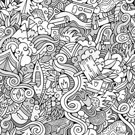 brandweer cartoon: Cartoon Doodles op het onderwerp van camping naadloos patroon. schetsmatige achtergrond