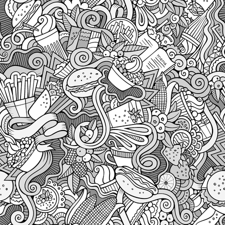 berries fruit: Cartoon  doodles on the subject of fast food theme seamless pattern. Line art detailed, with lots of objects background
