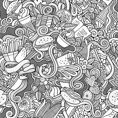 cartoon ice cream: Garabatos de dibujos animados sobre el tema de patr�n transparente tema de la comida r�pida. dibujos detallados, con una gran cantidad de objetos de fondo