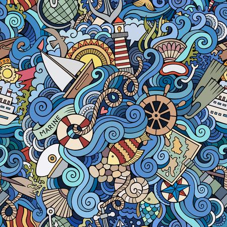 원활한 추상 패턴 항해 및 해양 배경 일러스트