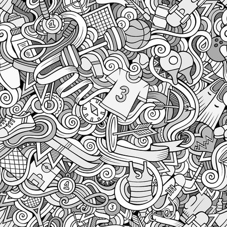 hockey sobre cesped: Garabatos de dibujos animados sobre el tema de patrón transparente tema de estilo deportivo. la línea de fondo de arte Vectores