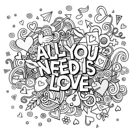 Cartoon vector hand drawn Doodle All You Need is Love illustration. Line art detailed design background with objects and symbols. All objects are separated Ilustração