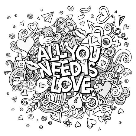 vecteur de bande dessinée tirée par la main Doodle All You Need is Love illustration. Line art conception détaillée de fond avec des objets et des symboles. Tous les objets sont séparés
