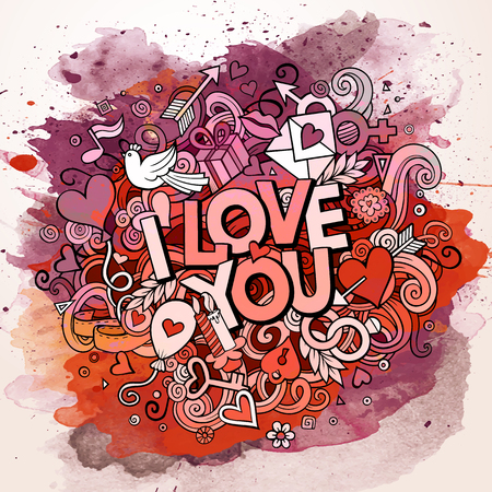 vintage woman: Cartoon vector hand drawn Doodle I Love You illustration. Line art watercolor design background with objects and symbols.