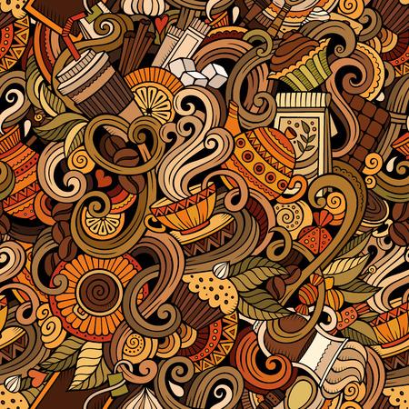 scarabocchi cartone animato disegnato a mano sul tema del caffè, bar a tema seamless. dettagliato, con un sacco di oggetti di sfondo vettoriale Vettoriali