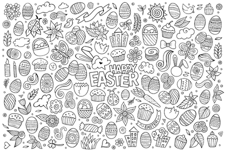 vector eggs: Sketchy vector hand drawn doodles cartoon set of Easter objects and symbols