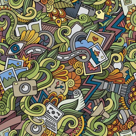 Cartoon hand-drawn doodles on the subject of photography theme seamless pattern. colorful detailed, with lots of objects vector background