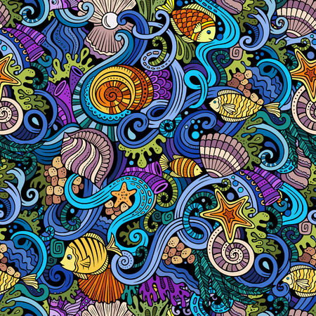 wave vector: Cartoon hand-drawn doodles on the subject of under water life theme seamless pattern. Colorful detailed, with lots of objects vector background