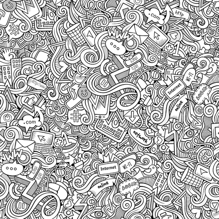 camera phone: Cartoon hand-drawn doodles on the subject of Internet social media theme seamless pattern. Line art detailed, with lots of objects vector background