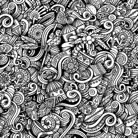 snake cartoon: Cartoon hand-drawn doodles on the subject of Africa style theme seamless pattern. Vector trace background Illustration