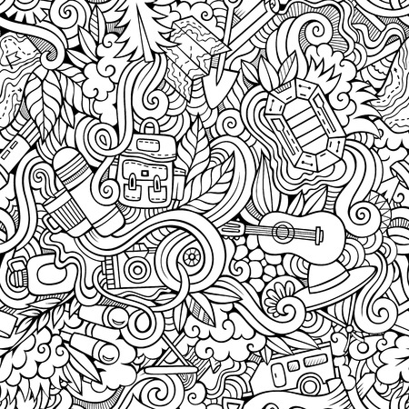 mountain holidays: Cartoon hand-drawn doodles on the subject of camping theme seamless pattern. Line art sketchy detailed, with lots of objects vector background