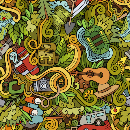 picnic park: Cartoon hand-drawn doodles on the subject of camping theme seamless pattern. Colorful detailed, with lots of objects vector background