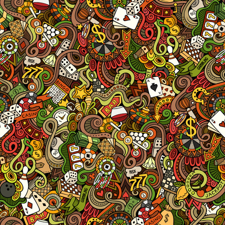 Cartoon hand-drawn doodles on the subject of casino theme seamless pattern. Colorful detailed, with lots of objects vector background