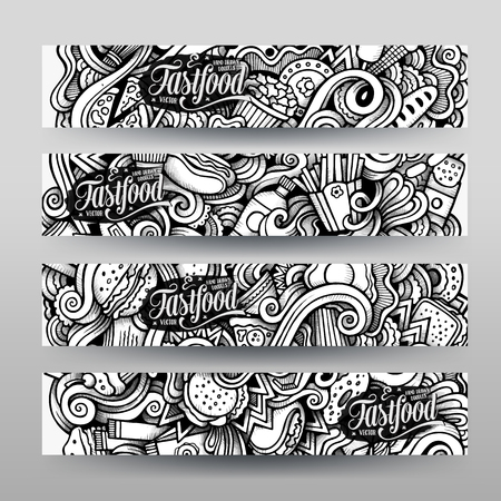 fastfood: Đồ họa vector vẽ tay sơ sài vết Fastfood Doodle. băng rôn ngang các mẫu thiết kế thiết Hình minh hoạ