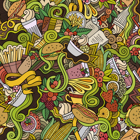 cartoon ham: Cartoon hand-drawn doodles on the subject of food, fast food theme seamless pattern. Colorful detailed, with lots of objects vector background Illustration