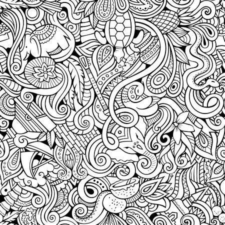 stupa: Cartoon hand-drawn doodles on the subject of Indian style theme seamless pattern. Contour vector background Illustration