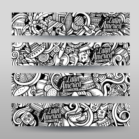 latin american: Graphics vector hand-drawn sketchy trace Latin American Doodle. Horizontal banners design templates set