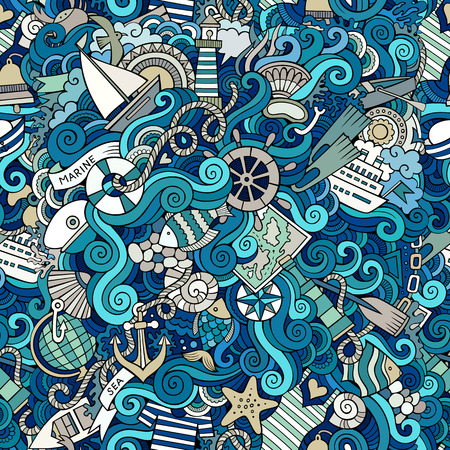 cruise cartoon: Seamless abstract pattern nautical and marine background