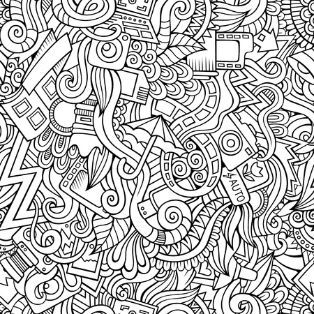 Cartoon hand-drawn doodles on the subject of photography theme seamless pattern. Line art detailed, with lots of objects vector background Illustration