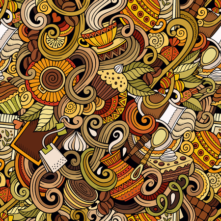 coffee beans: Cartoon hand-drawn doodles on the subject of cafe, coffee shop theme seamless pattern. detailed, with lots of objects vector background