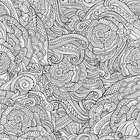 Abstract vector main décorative nature dessinée florale ornementale sommaire motif ethnique homogène. Peut être utilisé pour le papier peint, motifs de remplissage, fond de page web, surface textures