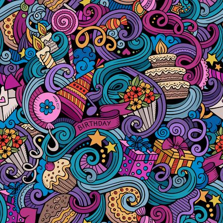만화 주제 휴일, 생일 테마 원활한 패턴에 낙서를 손으로 그린. 객체 벡터 배경의 많은 자세한 다채로운 일러스트