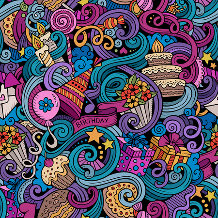 Cartoon hand-drawn doodles on the subject holidays, birthday theme seamless pattern. Colorful detailed, with lots of objects vector background Vectores