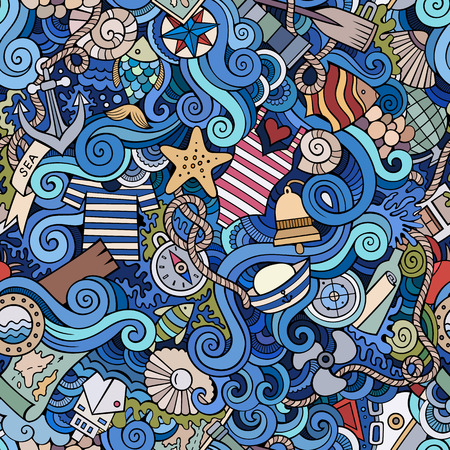 hand drawn cartoon: Seamless abstract pattern nautical and marine background