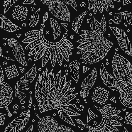 peruvian ethnicity: Tribal abstract native ethnic vector chalkboard seamless pattern