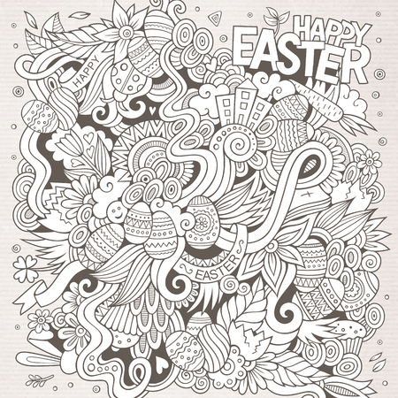 easter cake: Cartoon hand-drawn doodles on the subject of Easter theme pattern. Line art  detailed, with lots of objects vector background Illustration