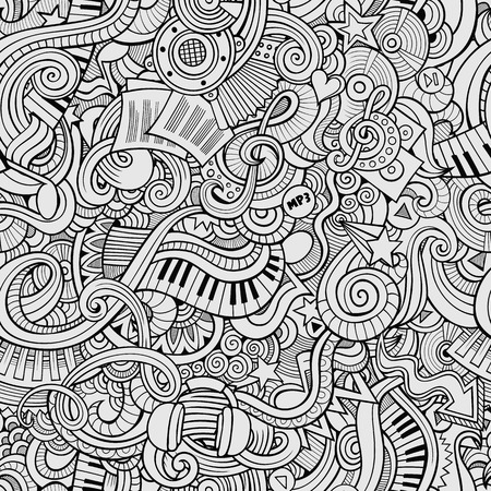 Cartoon hand-drawn doodles on the subject of musical theme seamless pattern. Line art sketchy detailed, with lots of objects vector background Vettoriali
