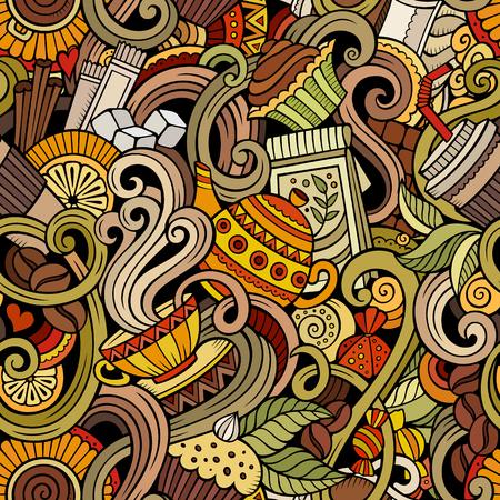 grano de cafe: garabatos dibujados a mano de dibujos animados sobre el tema del café, modelo inconsútil tema de la tienda de café. detallado, con una gran cantidad de objetos de fondo vector Vectores