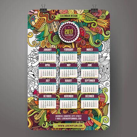leaf pattern: Doodles cartoon Easter Calendar 2017 year design, English, Sunday start.