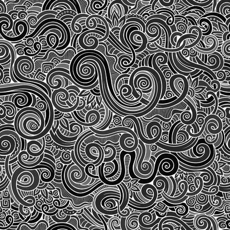patterns vector: Decorative hand drawn doodle nature ornamental curl vector chalkboard seamless pattern