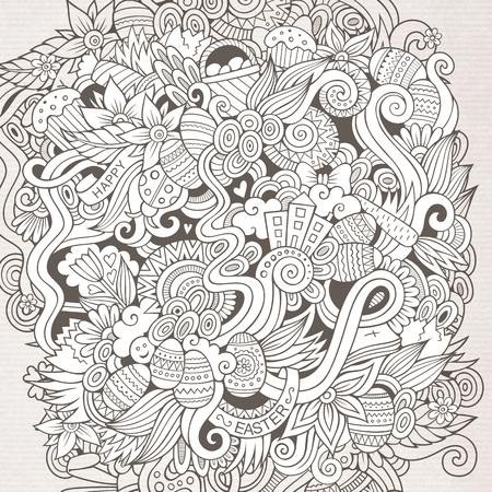 garabatos dibujados a mano de dibujos animados sobre el tema del patrón tema de Pascua. dibujos detallados, con una gran cantidad de objetos de fondo vector