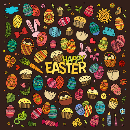 hand set: Colorful vector hand drawn doodles cartoon set of Easter objects and symbols