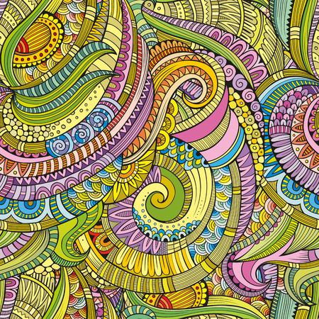 Resumen de vectores de la naturaleza dibujado a mano decorativo sin fisuras patrón étnico floral ornamental. Puede ser utilizado para el papel pintado, patrones de relleno, de fondo página web de texturas de superficie