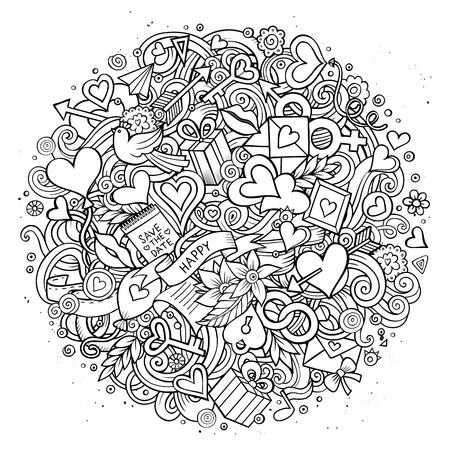 design objects: Cartoon vector hand drawn Doodle Love illustration. Line art sketchy detailed design background with objects and symbols. All objects are separated