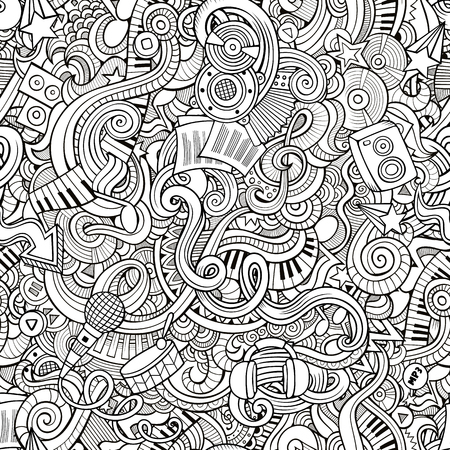 rhythm: Cartoon hand-drawn doodles on the subject of musical theme seamless pattern. Line art sketchy detailed, with lots of objects vector background Illustration