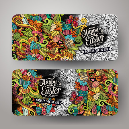 flower banner: Cartoon vector hand-drawn Doodle Happy Easter cards. Horisontal banners design templates set