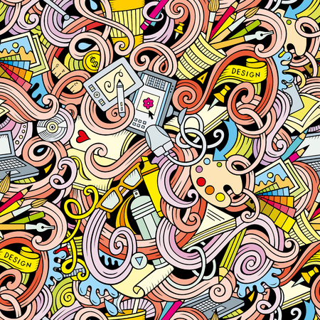 designer at work: Cartoon hand-drawn doodles on the subject of Design and art theme seamless pattern. Colorful detailed, with lots of objects vector background