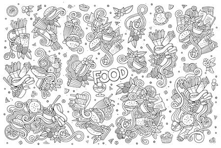 elote caricatura: Línea de arte vectorial garabatos dibujados a mano de dibujos animados conjunto de objetos y símbolos de alimentos